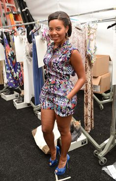 ♥Angela Simmons looked Summer-perfect at Mara Hoffman's 2013 Miami Mercedes Benz Fashion Week Swim Show. Naturally, she wore a style from the brand and chose a Vent Back Shortie Jumper and cobalt platform peep-toe pumps.