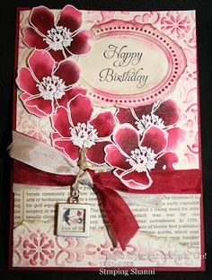 Fabulous Florets - embossed and coloured using ink refill.  Easy peasy - see it at Stamping Shanni for more details