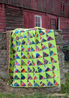 Very funky scrap quilt! I enjoy the replacement of the typical white with bright green. funky quilts, color palettes, hst, string quilts, lime, scrap quilt, bright colors