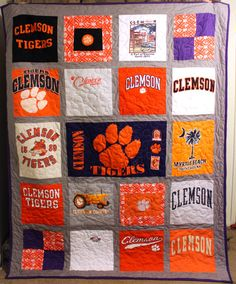 tshirt quilt, college graduation, quilt design, grad gifts, clemson t-shirt quilt, shirt quilts, graduation quilt, graduation gifts, clemson tigers