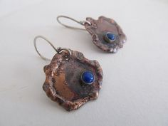 Rustic copper earrings - artisan hand fabricated in copper, fine silver and blue lapis by JoDeneMoneuseJewelry, $45.00