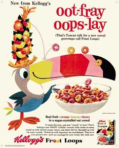 Image: Kelloggs Vintage Tin Sign: Fruit Loops  pig latin