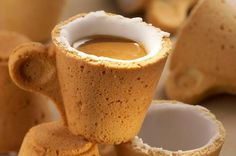 The Cookie Cup is designed by Venezuelan designer Enrique Luis Sardi together with Italian coffee company Lavazza.  The cup is made of pastry covered with a special icing sugar, which works as an insulator, and makes the cup waterproof hence allowing you to use the cup and then appreciate its taste.