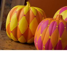 Plaid Harlequin Pumpkin Trio #halloween #craft #pumpkin