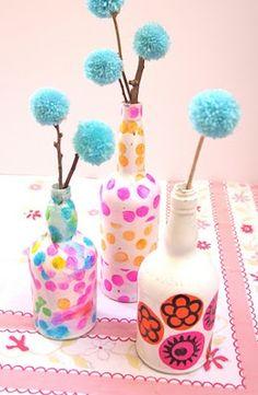 Wine bottle vases (Mod Podge!)