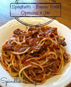 Spaghetti - the perfect comfort food the entire family loves. www.spindlesdesigns.com #spaghetti #recipes