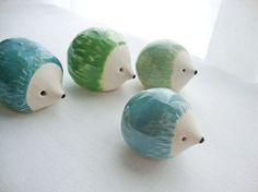 Set of 4 Porcelain hedgehogs from Iktomi, $42.00