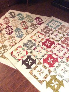very pretty disappearing hour glass and disappearing pinwheel quilt