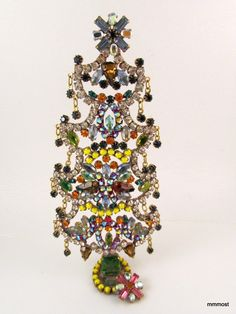 "Vintage Czech Rhinestone Christmas Tree Free Standing 6 5"""