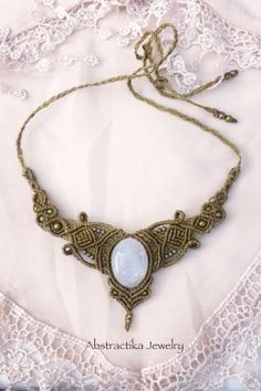 Rainbow moonstone. Goddess macrame necklace - tiara with moonstone. Bohemian. Macrame jewelry, romantic, elven jewelry, faery, india