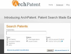 ArchPatent is a free patent search website created by Arch Data Intelligence, Inc.  Read the full Community Report at Intellogist: http://www.intellogist.com/wiki/ArchPatent