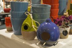 Ceramic Birdhouses- Crate and Barrel Garden Trends in the Mall