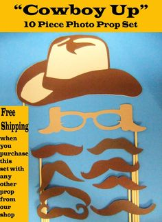 Photo booth props for cowgirl party