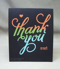 Heat embossing using a variety of embossing powders. Stamp set is Another Thank You, a photopolymer set from Stampin' Up!