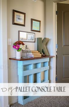 DIY Pallet Console Table painted with Americana Decor Chalky Finish.