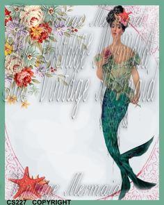 CS227 #VictorianRoseQuiltBlock #RetroMermaidApplique by mermaidfabricshop, $6.99