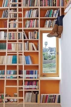 A library with orange walls makes books pop