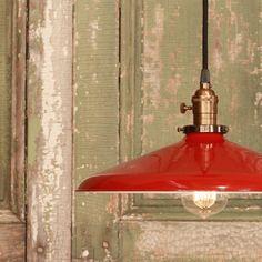 red enamel, enamel shade, industrial lighting, red industri, industri light