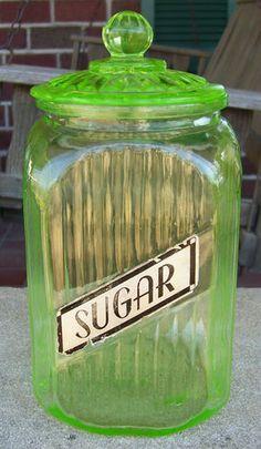 Vintage Hocking Green Depression Sugar Kitchen Canister w Lid.