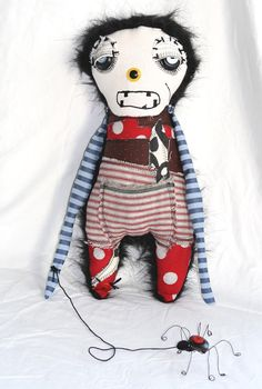 Arnaud the monster and his pet spider Plush Art Doll by themdollz, $85.00