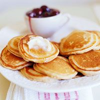 mini apple butter hotcakes with cherry topping