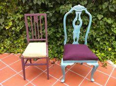 Conjunto de 4 sillas estilo chipendalle turquesa con decapé en borgoña patinadas en blanco plomo. Tapizado loneta borgoña con embellecedor. Conjunto de dos sillas de travesaños borgoña con decapé turquesa y tapizado en tela de saco con chincheta de tapizar.