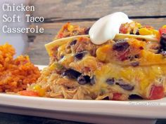 This Chicken Soft Taco Casserole uses flour tortillas with a chicken-vegetable filling with Mexican flavor topped with layers of cheese. YUM!!! #Mexican #casserole #chickenrecipes