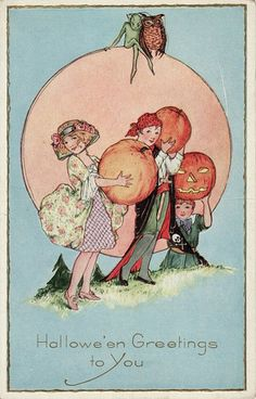 1920s Hallowe'en Greetings to You! #vintage #Halloween #postcards #1920s