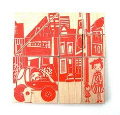 city wood blocks by fidoodle, via Etsy.