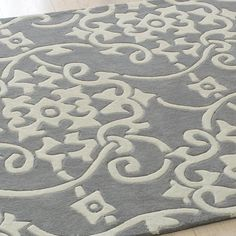 Scrolled Medallion Rug in Gray