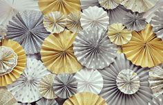 dessert tables, party backdrops, color schemes, decorations, pinwheel, fan, parti, wedding papers, paper rosettes