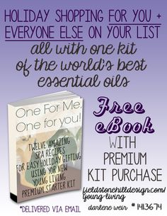 Finally get that kit of #essentialoils for yourself... because it comes with this amazing #free spa-recipe #eBook that will tell you how to use your kit to make all of your Christmas presents! #yleo So much bang for your buck! Click through for details.