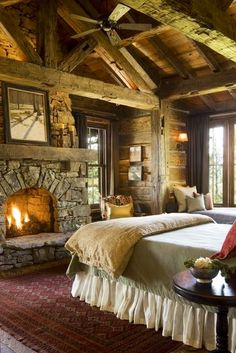 Log Home Bedroom | Seriously  I am in Love