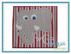 Elephant  Head for Monogram Patch Applique Design