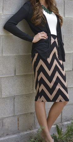 Fall Work Outfit With Plain Cardigan and Chevron Skirt