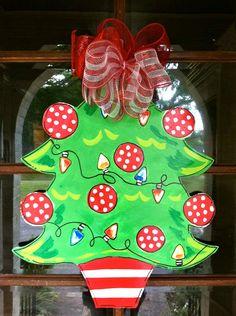 Christmas Tree Door Hanger  Bronwyn Hanahan by BronwynHanahanArt, $45.00 doors, christma door, green christmas, christma tree, christma plan, burlap banners, christmas tree door hanger, christmas trees, crafti chic