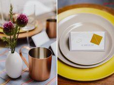 Copper mugs + geometric table details