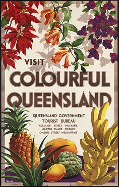 Visit Colourful Queensland #vintage #travel #poster #australia