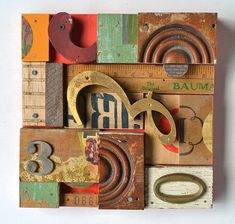 assemblage art, elizabeth rosen, 5wooden collag, vintage signs, wooden letters, wood assemblage, letter block, typography art, wood collages