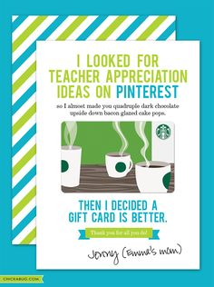 Free printable teacher appreciation cards... haha