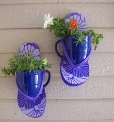 Make Flip Flop Plant Sconces! plant holders, diy fashion, beach houses, flop plant, coffee cups, flip flops, dollar store crafts, plant sconc, garden