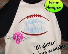 GLITTER Football Monogram with  Colored Sleeves