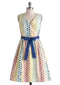 In the Key of Chic Dress in Polka Dots. Help your outfit harmonize beautifully with todays outdoor symphony performance by wearing this chic, polka-dotted frock by Bea  Dot, found exclusively at ModCloth! #multi #modcloth