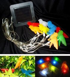 Solar Powered Assorted Colors Birds String Lights 9 White LEDs by SW Closeout. $31.50. No Wiring. On/Off switch. Rechargeable Ni-Cd AA battery included.. Powered by the sun.Fast & easy install. Recharged by solar panel under sunlight.. Energy, electrical saving, Light turns on automatically when dark.. Ideal for areas where conventional electrical supply is not available.. Add a charming look to your garden or backyard with these cute and colorful birds! With 3 serial batteries, ...
