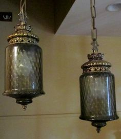 Vintage/Retro Double Swag Lamp,Smokey Grey Glass,Hollywood Regency,Mid-Century