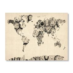 Old Clocks World Map by Michael Tompsett - 18 x 24 in. | Find it at the Foundary $39