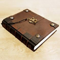 Old Diaries And Journals | The Book Brown Vintage Leather Journal with Lock by TeoStudio