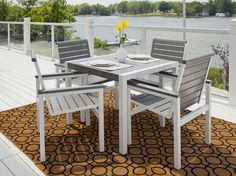 The Mod Dining Collection features aluminum frames and recycled plastic lumber slats. #MadeInUSA #ecofriendly