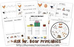 Ask Mr. Bear free printable pack