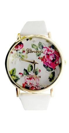 White Floral Watch